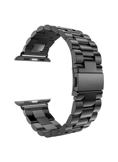 Microsonic Apple Watch Series 6 44mm Metal Stainless Steel Kordon Gold Siyah